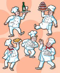 Colorful Set of Cartoon Chefs