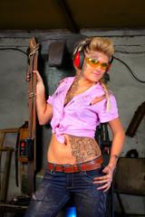 girl  against industrial hammer