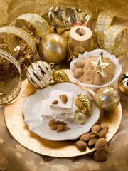 almond nougat over christmas table