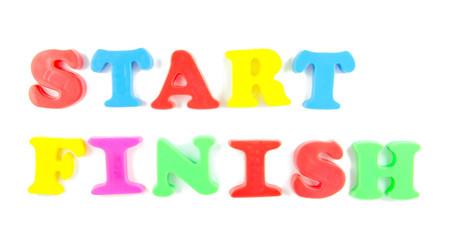 start and finishe written in fridge magnets