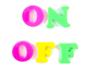 on and off wriiten in fridge magnets