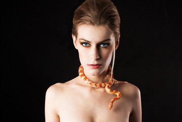 woman with snake