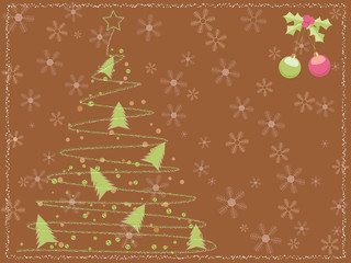 brown card with a chalk scribbled christmas tree