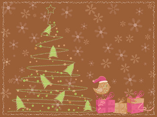 brown card with a christmas tree, a bird and gift boxes