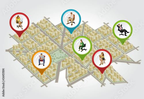 Isometric city map with colorful pointers with people on chair