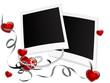 Blank polaroid frames with hearts
