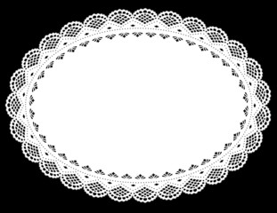 Lace Doily Placemat, White Oval