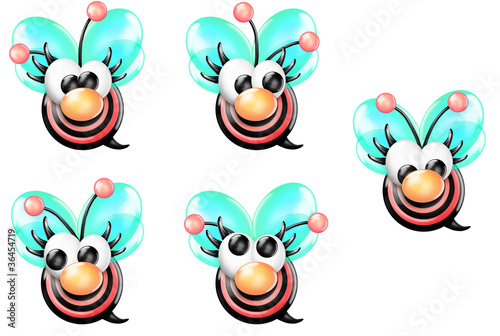 Bullseye Bee Girl Front with Nose Looking Sheet