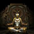 Frau in Rüstung beim Meditieren