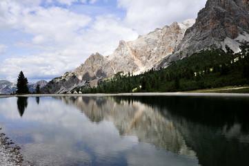Mountain lake in Dolomite Alps in Cortina, Italy.