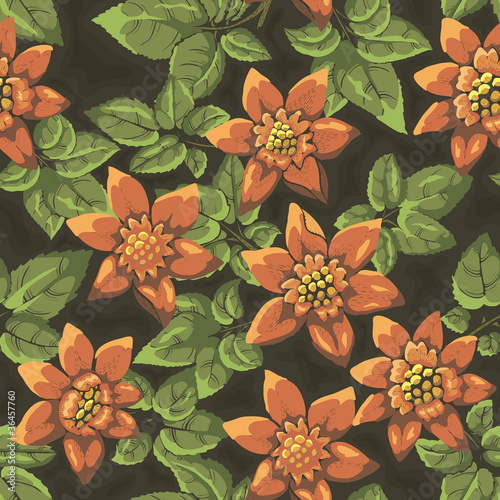 Floral seamless pattern. Hand drawn flowers. Bright colors.