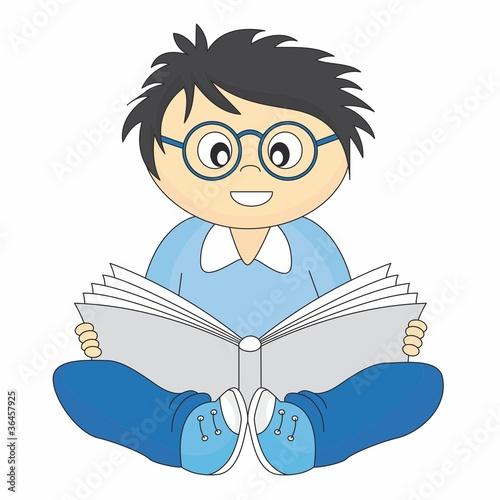 Vector: niño leyendo un libro
