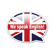 Pegatina globo We speak English!