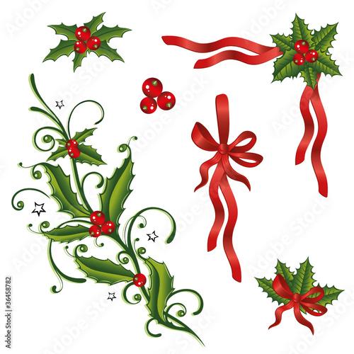 Vektor: Stechpalme, Weihnachten, Ilix, Jul, vector set