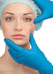 Female face before plastic surgery operation