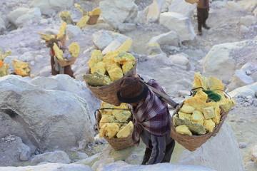 Mineurs à Kawah Ijen