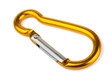Single golden aluminium carabiner isolated on white