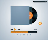 Vector vinyl disk in envelope music player