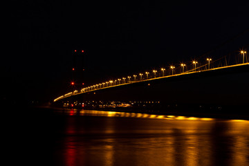view of humber bridge at night