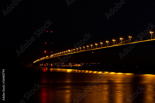 view of humber bridge at night