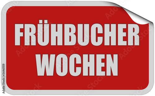 Sticker rot eckig curl oben FRÜHBUCHER WOCHEN