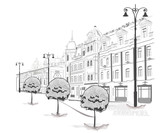 Series of streets in the city in sketches
