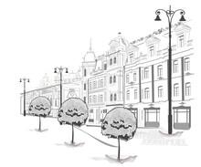 Reeks van straten in de stad in schetsen