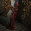 weiblicher Cyborg im Maschinenraum