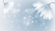 Snow abstract flowers / Winter blue background with snowflakes