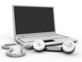 Laptop with old-fashioned phone reciever. 3d