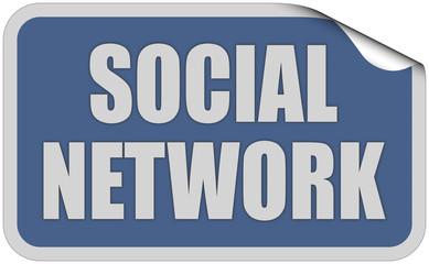 Sticker blau eckig curl oben SOCIAL NETWORK