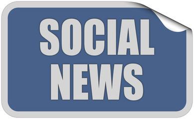 Sticker blau eckig curl oben SOCIAL NEWS