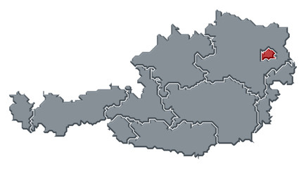 Map of Austria, Vienna highlighted