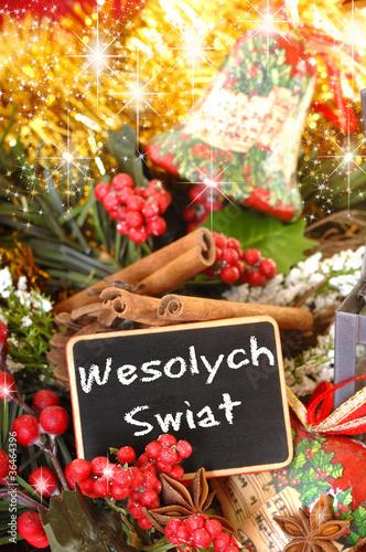 tafel frohe weihnachten in polnisch mit sternanis und. Black Bedroom Furniture Sets. Home Design Ideas