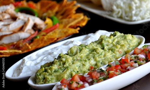 Mexican food guacamole tomato sour dip
