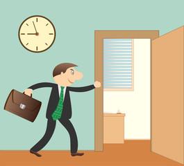 cartoon successfully businessman with portfolio in office