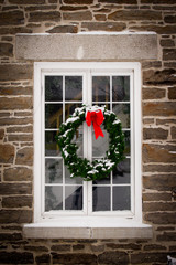 Christmas Wreath on Old Window Pane