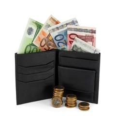 Portemonnaie mit Euroscheinen und Münzen