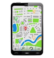 GPS Navigator in Smartphone, vector illustration