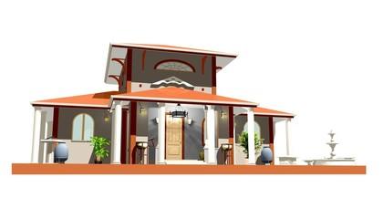 Casa Villa Stile Romano-Roman Style House-3d