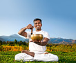 Yoga meditation with Tibetan bowl