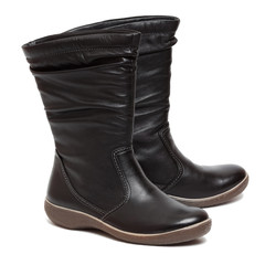Female black boots isolated on the white background
