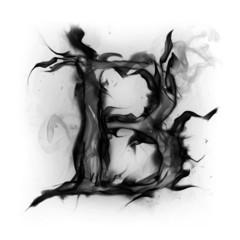 Black smoke alphabet letter