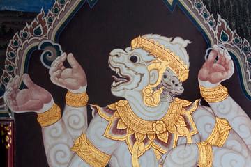 Ancient fresco at Wat Phra Kaew in Bangkok, Thailand