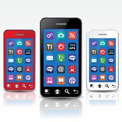 THREE PHONE RED, BLACK, WHITE & ICONS