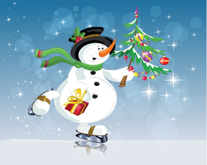 snowman with gift. Christmas, new year