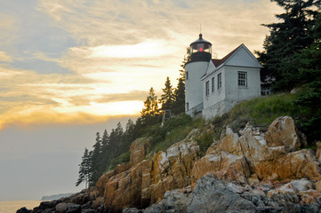 Sunset at Bass Harbor Lighthouse, Acadia National Park (Maine)
