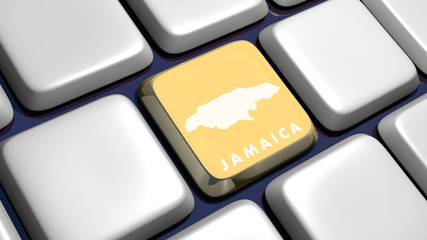 Keyboard (detail) with Jamaica map key