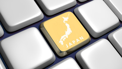 Keyboard (detail) with Japan map key