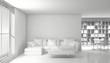 Interno con divano e libreria